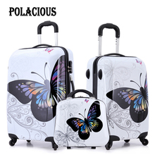 20″+24″+12″ wonderful scorching gross sales Japan butterfly ABS trolley suitcase baggage units/Pull Rod trunk/traveller case with spinner wheel