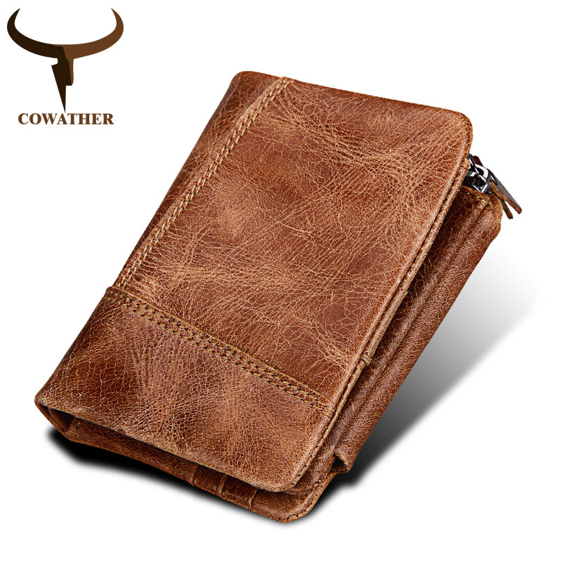 COWATHER 2018 high quality crazy horse leather male purse top cow genuine leather fashion men wallets RFID C3585 free shipping 2018 top quality new men wallets vintage cow crazy horse luxury leather men manual male purse carteira masculina