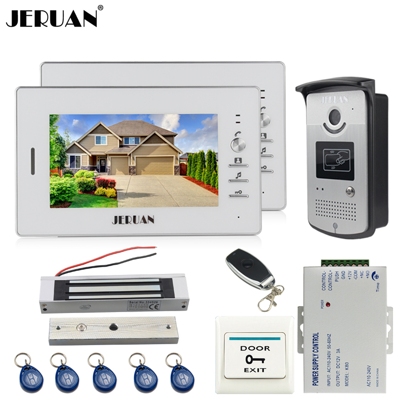 JERUAN NEW 7 inch LCD video door phone Entry intercom system kit 2 monitor waterproof 700TVL RFID Access IR Night Vision Camera 7 inch lcd color video door phone doorbell intercom entry system kit unlock night vision monitor and rainproof ir camera 3v1
