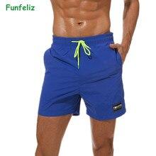 Funfeliz Mens Surfing Beach Shorts Quick Dry Plus Size Boardshorts Swimming Trunks for Boys M-3XL Men Swimwear Swim Suit