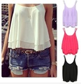 Summer Sexy Women Chiffon Tank Tops Double Layer Camisole Fashion Lady Candy Color Sleeveless Shirt PLUS SIZE D119