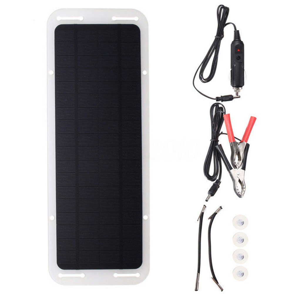 <font><b>12V</b></font> <font><b>5W</b></font> <font><b>Solar</b></font> <font><b>Panel</b></font> Car Charger Portable Ultra Thin <font><b>Solar</b></font> <font><b>Panel</b></font> Charger USB Port Automobile Motorcycle Tractor Boat RV Batteries image