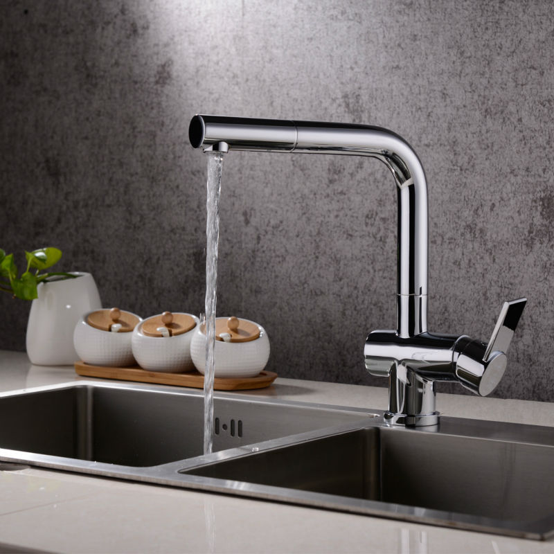 Hight Quality Brass Kitchen Faucet with Brass Pull Out Sprayer Sink Mixer Tap Use the KEROX Cartridge and Neoperl Aerator kitchen chrome plated brass faucet single handle pull out pull down sink mixer hot and cold tap modern design