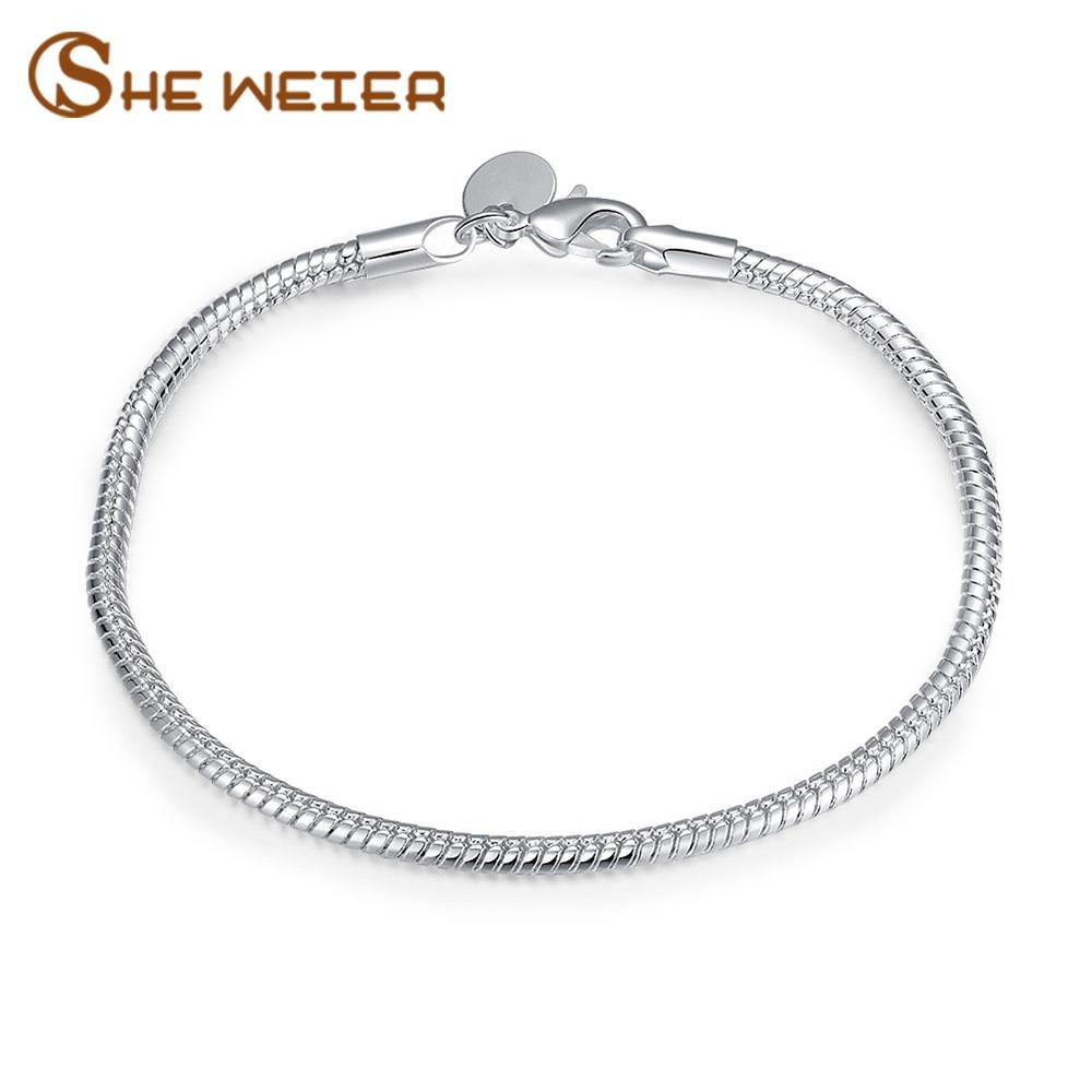 SHE WEIER bracelet for women gifts bijouterie braslet bizuteria acessories pulseiras chain link silver charms female
