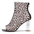 Оригинальные ультрастильные женские ботильоны с леопардовым принтом; Прозрачные ботинки с открытым носком на прозрачном каблуке; Летняя ж...