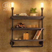 Vintage Industrial Water Pipe Iron LED Wall Lamp Wooden Bookshelf Wall Lighting Decoration Office Cafe Store Study Decor