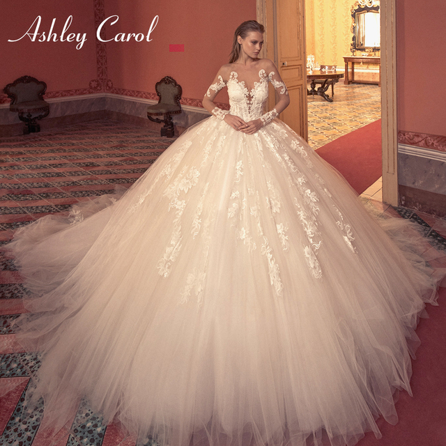 Ashley Carol Ball Gown Wedding Dress 2020 Long Sleeve Bridal Luxury Beaded Appliques Illusion Cathedral Princess Bride Dresses