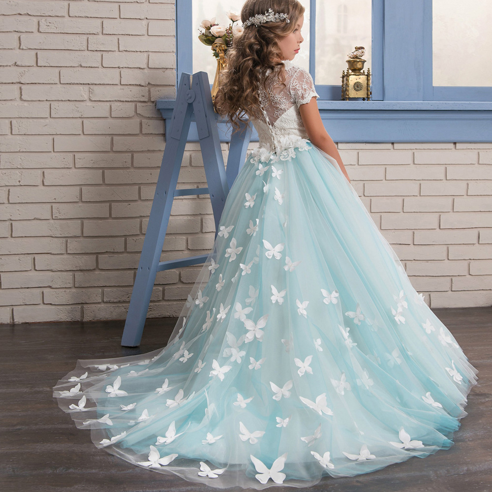 Lace Wedding Flower Girls Dress Child Girl Evening Prom Graduation Formal Dresses for Kids Girl Long Trailing Princess Dress luxury princess dress evening gowns birthday floral pearl beading girls formal dress detatchable trailing flower girl dresses b
