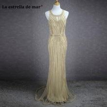robe de soiree longue 2018 lace crystal sparkling sexy mermaid dubai champagne evening font b dresses