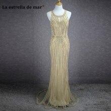 Robe de soirée longue 2018 lace crystal espumoso sirena sexy champagne vestidos pretty prom vestidos del partido del vestido de noche de dubai