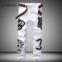 New Creative Fashion Patchwork Badge Jeans Mens Denim Hole Jeans Pants White Washed Vintage Brand Slim Jeans Designer Long Pants