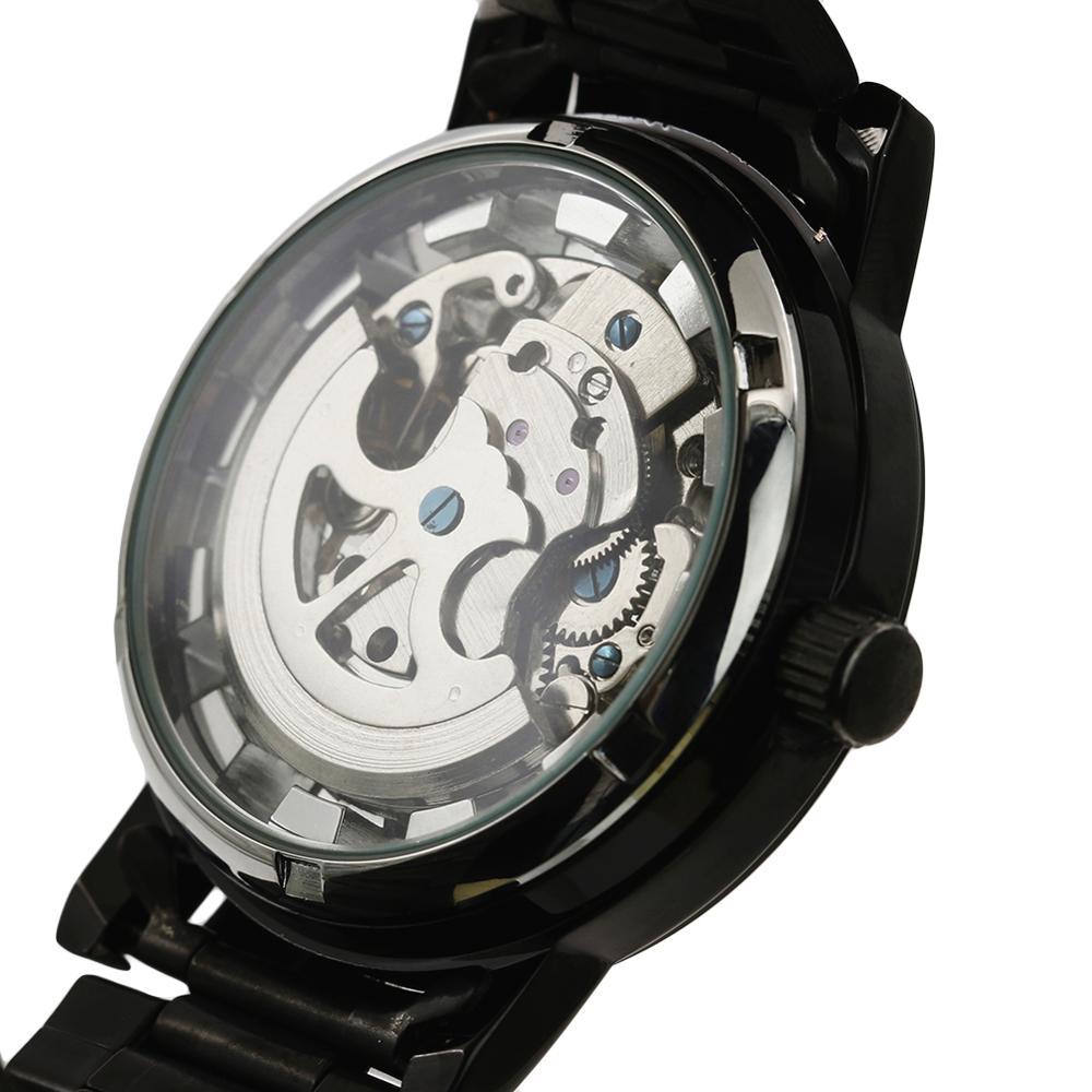 Fashion Men 39 s Watch Mechanical Watch For Men Black Steel Brand Hollow Skeleton Dial Wristwatches in Mechanical Watches from Watches