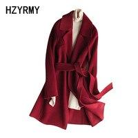 HZYRMY Осень Новый Для женщин кашемир двусторонний шерстяное пальто сплошной цвет шнуровки длинные зимние дикий теплый толстый шерстяной тка