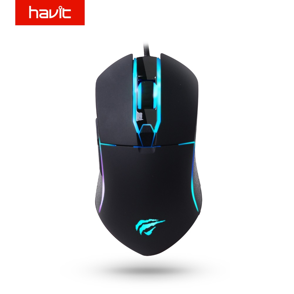 HAVIT 5 Backlit Modes Gamer Mouse 4000 DPI Wired Optical Gaming Mouse with 6 Buttons for PC Computer Laptop Desktop Gamer MS761