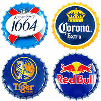 Beer Bottle Cap Beer Vintage Metal Tin Signs Cafe Bar Signboard Wall Decor Shabby Chic Retro Plaque Nostalgia Metal Poster 35CM