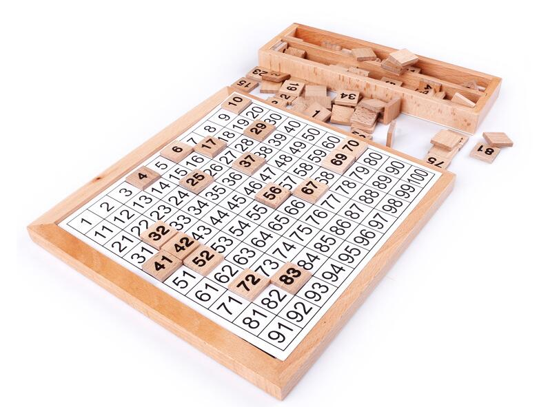 1-100 tableau en bois numérique Montessori jouets mathématiques Montessori matériaux jouets éducatifs pour enfants tableau numérique Figure blocs jouet