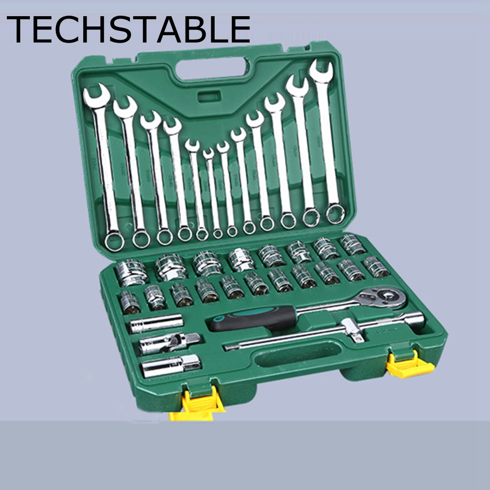 TECHSTABLE 37pcs/set Car Repair Torque Wrench Tool Combination Tool Set Ratchet Socket Spanner Mechanics Hand Tool Kits free ship 44pcs set chrome vanadium steel amphibious socket wrench set spanner car ship machine repair service tools kit