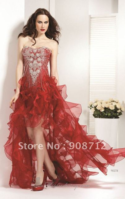 Hot Sell ! Assymetrical Strapless Scoop Organza Short Front Long ...
