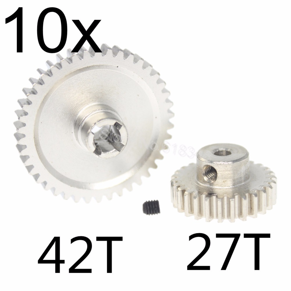 10 Sets Metal 42T Spur Gear Diff Main & Motor Pinion Gear 27T For WLtoys A959-B A969-B A979-B K929-B Upgrade Parts of A959-B-15 wltoys a959 b 13 540 motor 1 18 a959 b a969 b a979 b rc car part