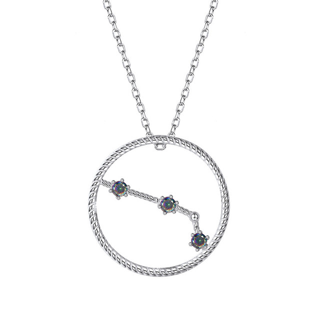 Dainty Sterling Silver Zodiac Aries Constellation Necklace  Gift for Her