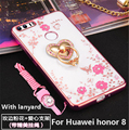 New Luxury diamond TPU Case with Ring Stand Function For Huawei honor 8 Starting simultaneously TPU  case for Huawei honor 8