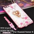 Novo luxo diamante tpu case com anel de suporte de função para huawei honor 8 partida simultaneamente tpu case para huawei honor 8