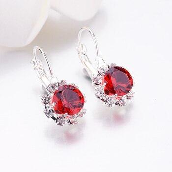 Brincos de zircônia 1 par moda nova alergia livre brinco 6 cores requintado cristal grande gem strass jóias femininas únicas 1