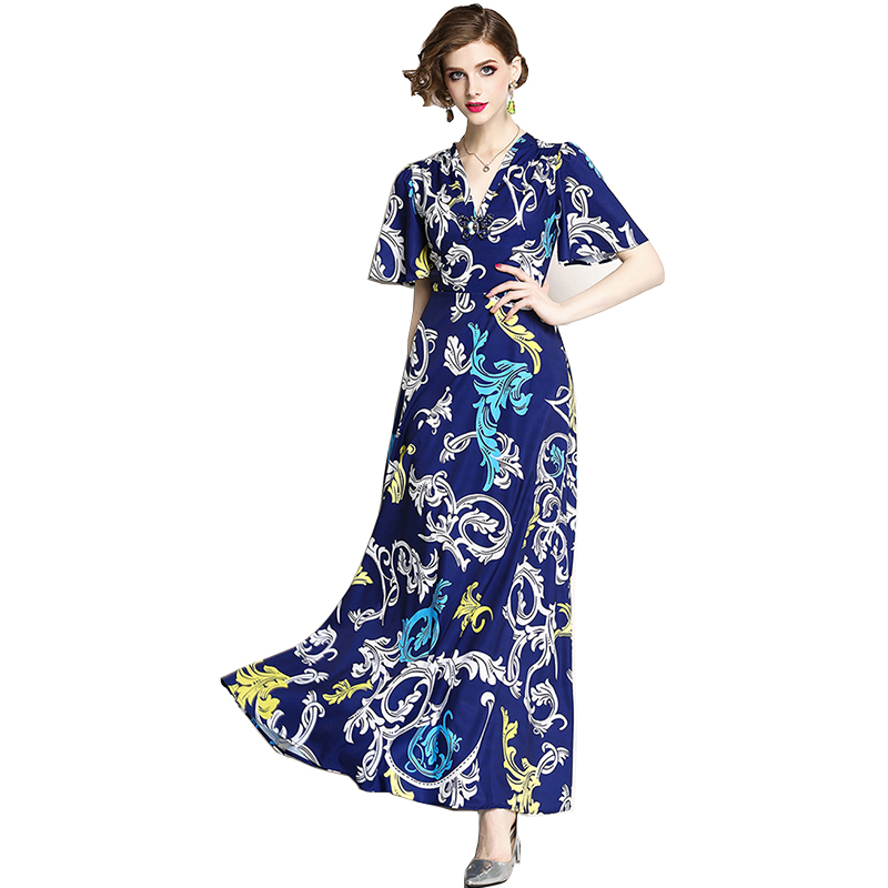 81fb0d1a1f36 Western-style-Fashion-V-Neck-Short-Flare-Sleeve-Ankle-Length-Long -Vintage-Printed-Floral-Maxi-Dress.jpg