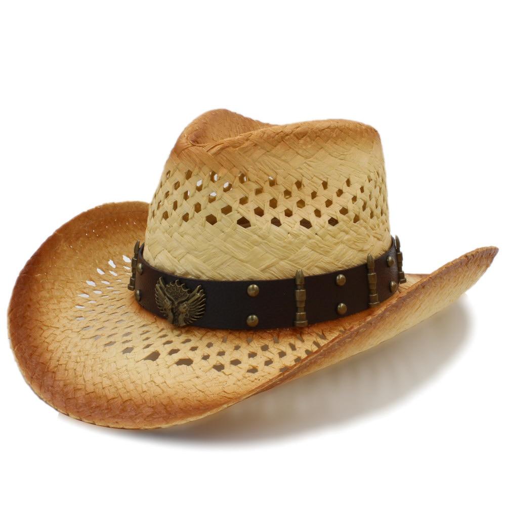 Men's Sun Hats Women Men Western Sun Hat Withleather Punk Band Handmade Weave Sombrero Cowboy Hat Size 58cm A0130 100% High Quality Materials Men's Hats