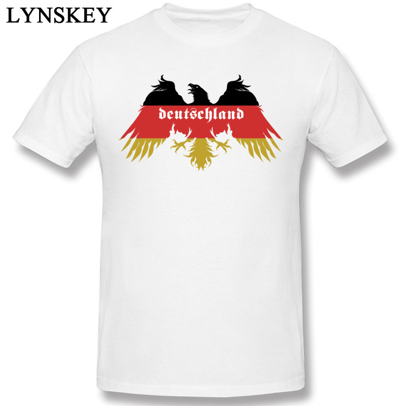 O-neck T-shirt Men Cool 100% Cotton Top Tee Shirts Short Sleeve Cartoon Eagle Autumn Clothing <font><b>Deutschland</b></font> Flag Colors Of Germany image