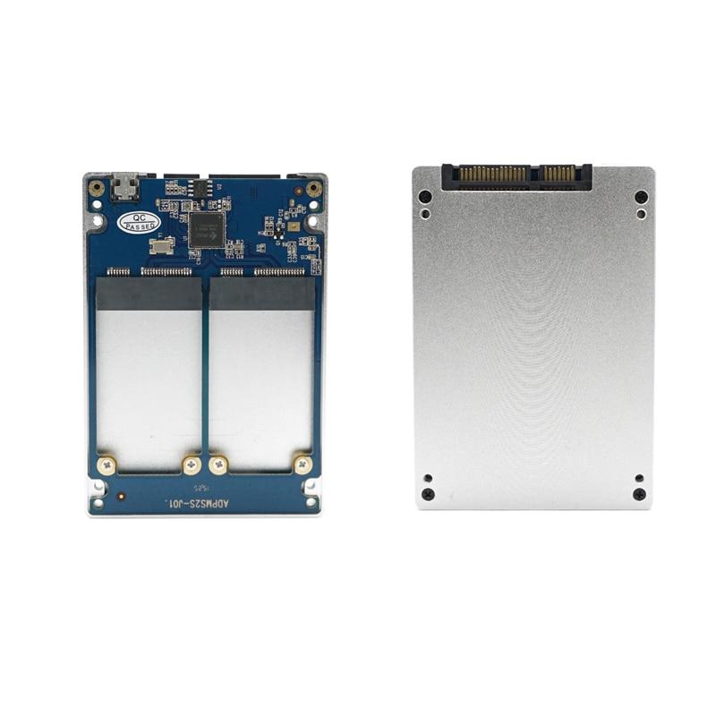 Dual mSATA RAID to 22pin SATA Adapter 2.5 inch SATA 3.0 Enclosure USB3.0 to 2 MSATA SATA 3 RAID 0/1 Free Shipping 2pcs free shipping new 4 micro sd tf card to 22pin sata adapter card 2 5 hdd enclosure with raid 0 multi tf cards to sata