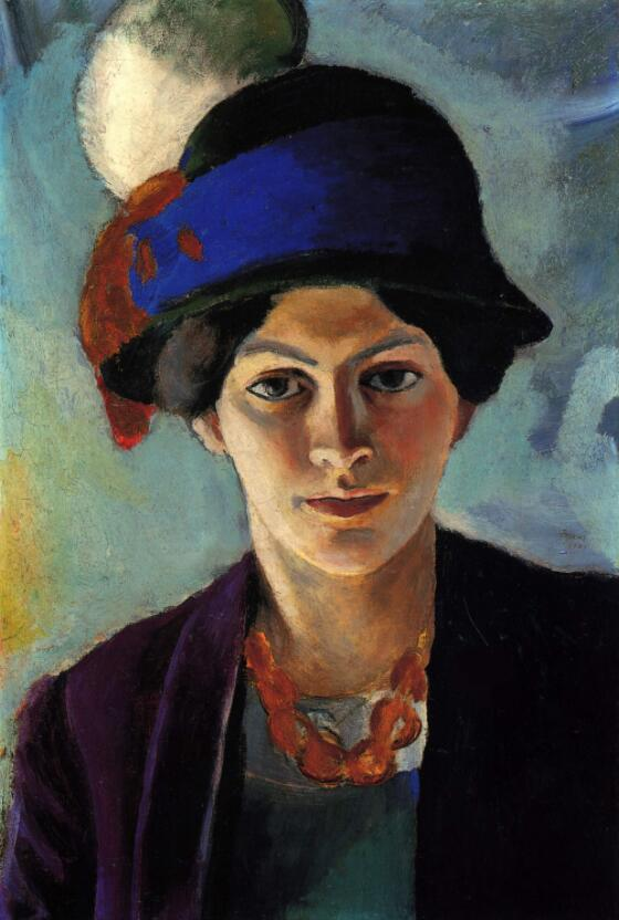 High quality Oil painting Canvas Reproductions Portrait of the artists wife with a hat (1909)  By August Macke hand paintedHigh quality Oil painting Canvas Reproductions Portrait of the artists wife with a hat (1909)  By August Macke hand painted