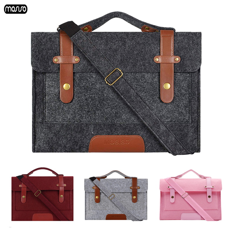 MOSISO 13 13.3 15.6 Inch Wool Felt Laptop Shoulder Bag For MacBook Lenovo Dell HP Asus Computer Bag 15.6 Notebook Case Briefcase