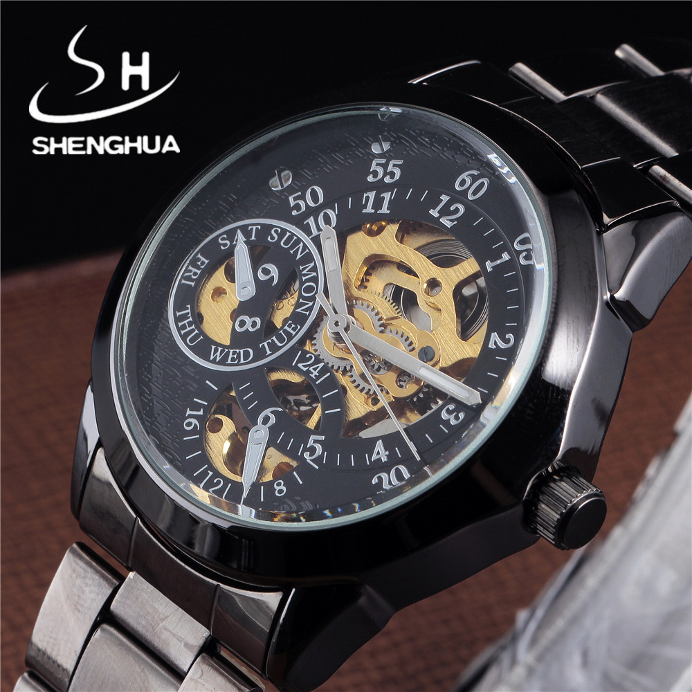 SHENHUA Luxury Brand Men Mechanical Watch Retro Black Skeleton Watches Stainless Steel Male Fashion Clock Mens Automatic Watch tevise men black stainless steel automatic mechanical watch luminous analog mens skeleton watches top brand luxury 9008g