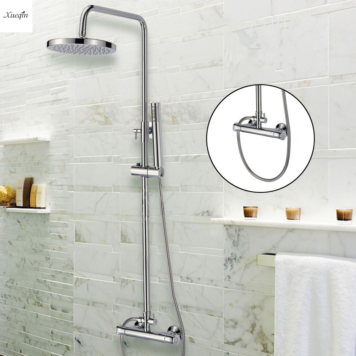 Chrome Brass Shower Faucet Rainfall Handheld Shower Sprayer Tub Mixer Tap Set Round Panel Bath Shower Thermostatic Wall Mounted цена 2017