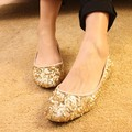2017 ladies shoes apatos mujer sapato feminino rhinestone flat Womans Flat Shoes Round Toe Gold Wedding Female Shoe Plus Size