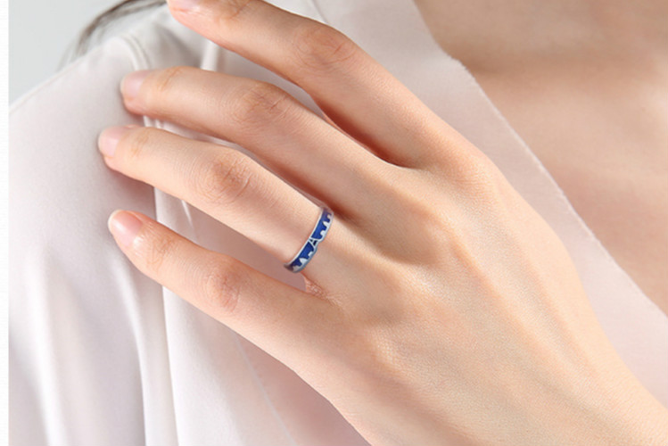 HTB1gA ANCzqK1RjSZFHq6z3CpXaG Flyleaf Blue Dripping Glazed Castle Open Lovers Rings For Women Men Romantic Valentine's Day Gift 925 Sterling Silver Jewelry