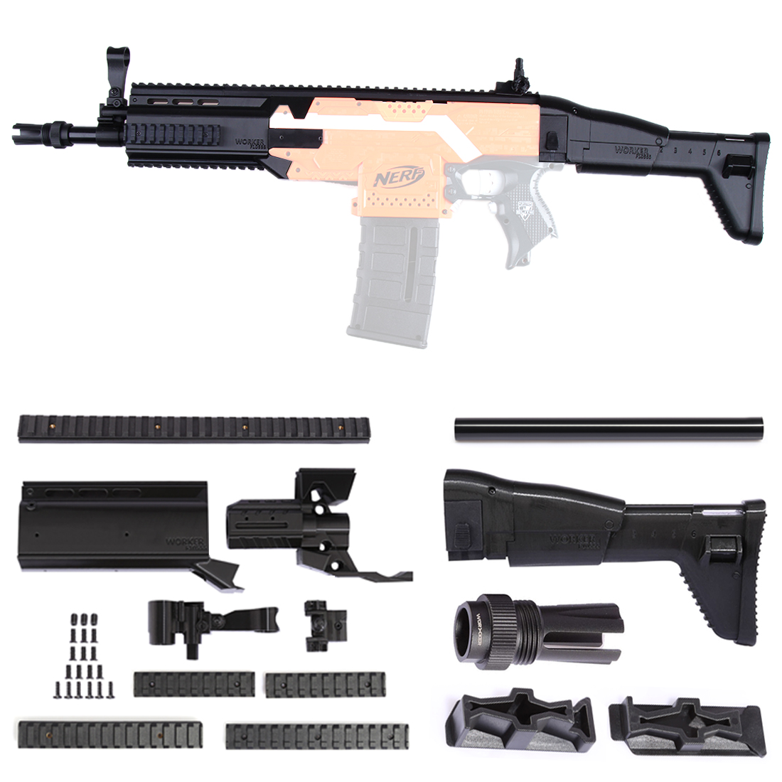 WORKER f10555 3D Printing Modularized NO.152 Front Tube + Tail Stock Kit for Nerf Stryfe садовая детская тяпка truper atj kid 10555