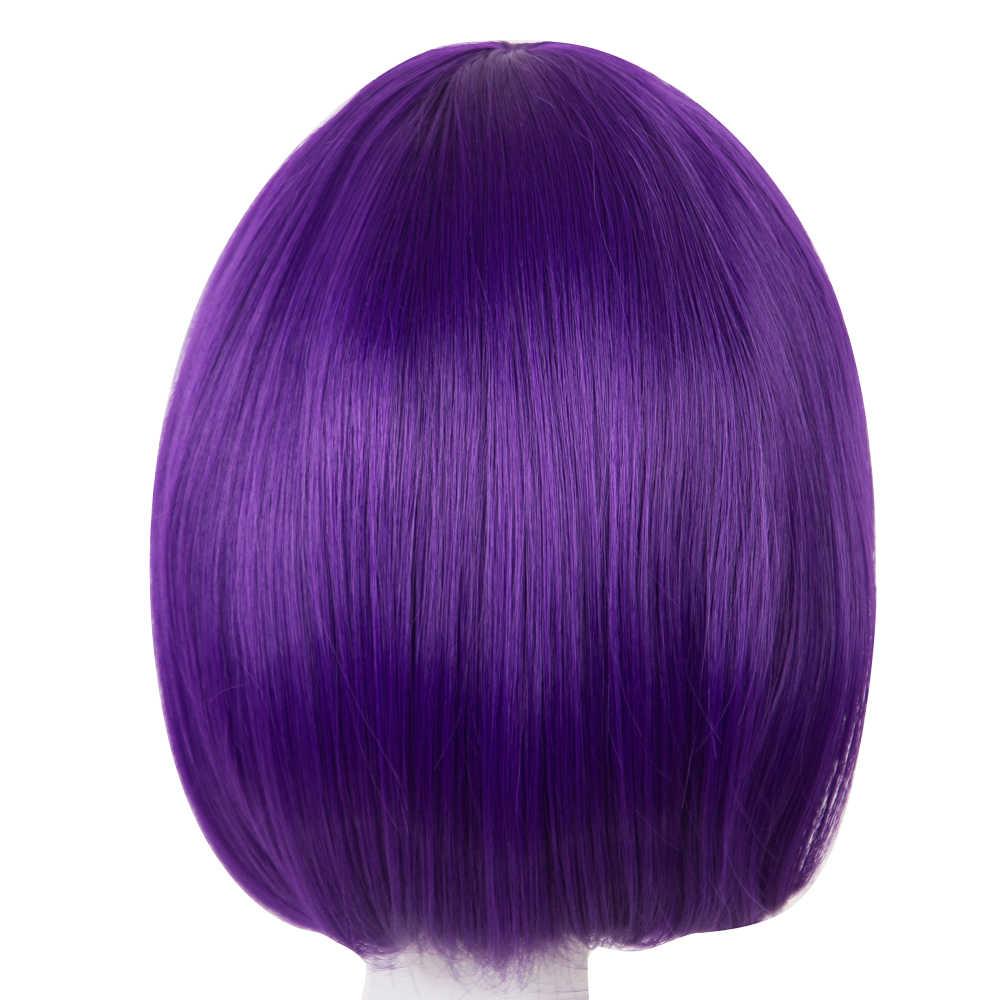 Fei-show Bob peruka ukośne grzywki krótkie faliste peruki fioletowy czerwony niebieski pomarańczowy biały czarne włosy syntetyczne żaroodporne kobiety Hairpiece