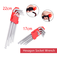 Middle Ball Head Allen Key 9pcs 17cm/22cm High carbon Steel L Shape Hex Key Repair Tool Powerful Type Allen Wrench Set Hand Tool|Wrench| |  -