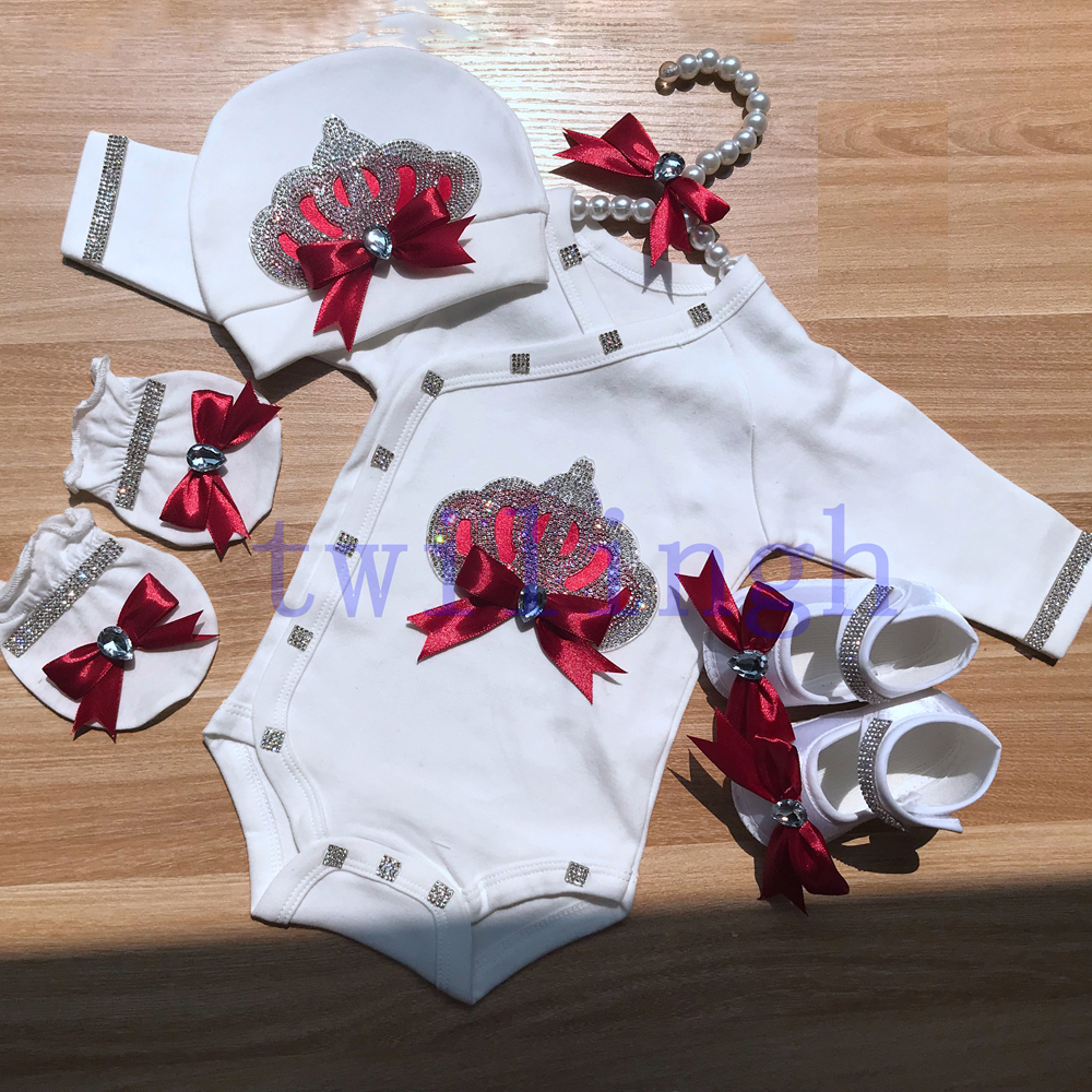 Twilingh Rhinestone Crown Patch Baby Jumpsuit Clothes Patches Rhinestone Crystal Applique For NewBorn Crown Baby'Sets Clothing