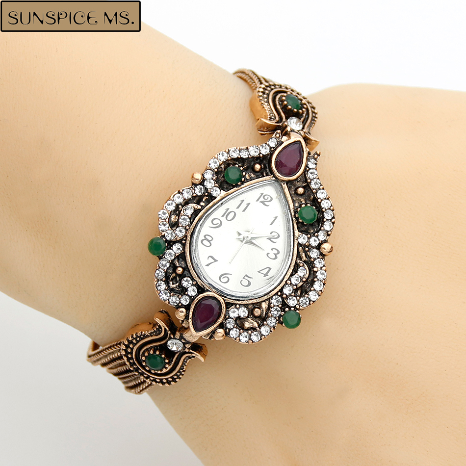 Charm Bracelet Watches: Fashion Turkish Women Bracelets Watches Resin Crystal