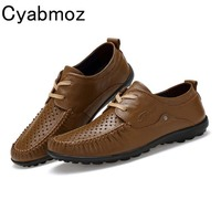 Cyabmoz 2017 Summer Autumn Casual Breathable Leather Shoes Mens Genuine Leather Oxfords Hand Made Lace Up