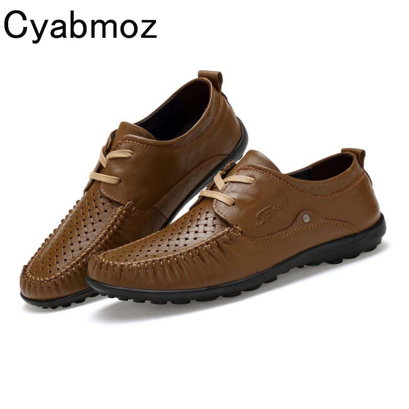 Cyabmoz 2018 Summer Autumn Casual Breathable Leather Shoes Mens Genuine Leather Oxfords Hand Made Lace-up Dress Shoes Sapatilhas cyabmoz 2017 flats new arrival brand casual shoes men genuine leather loafers shoes comfortable handmade moccasins shoes oxfords