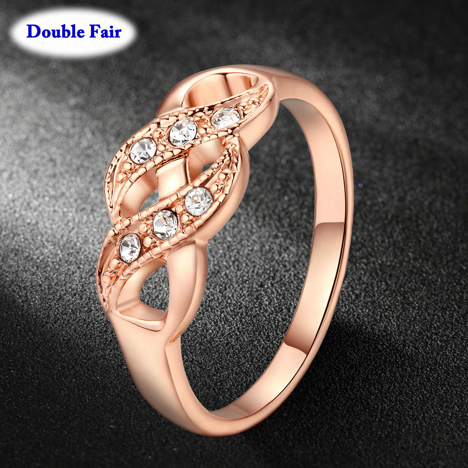 DWR334 Wave Shape Rose Gold Color Wedding Finger Ring For Women Fashion Brand Austrian Crystal Vintage Jewelry