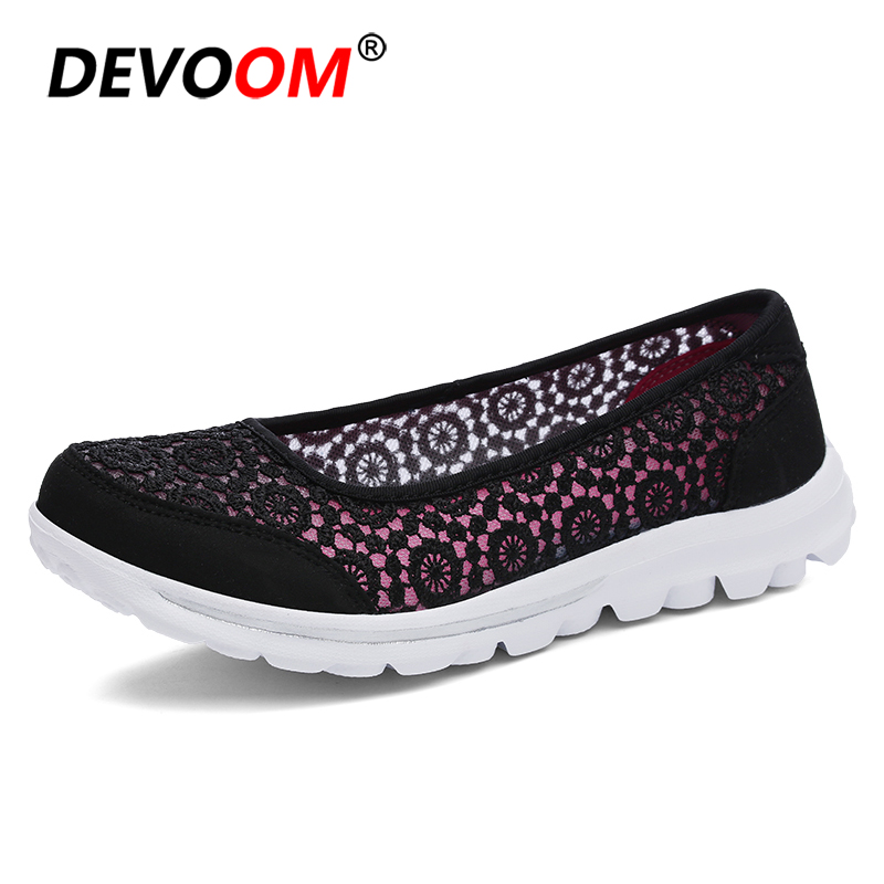 2018 Fashion Lace Upper Air Mesh Shoes Woman Super Light Soft White Sole Comfort Shoes Summer Slip on Low Cut Women Flats Cheap instantarts women flats emoji face smile pattern summer air mesh beach flat shoes for youth girls mujer casual light sneakers