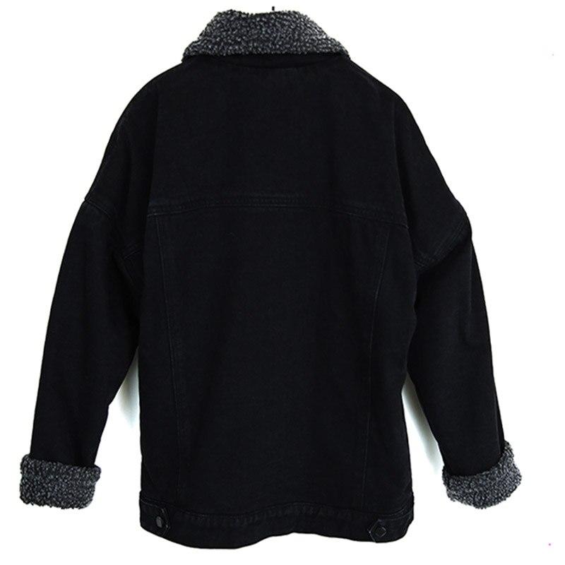Vestes Chaud Printemps Veste D'agneau Longues Noir Denim Mode Manteaux Femmes 2xl Jeans Doublure À Qualité Haute Laine 2018 Xl Manches En E4wqCHwx
