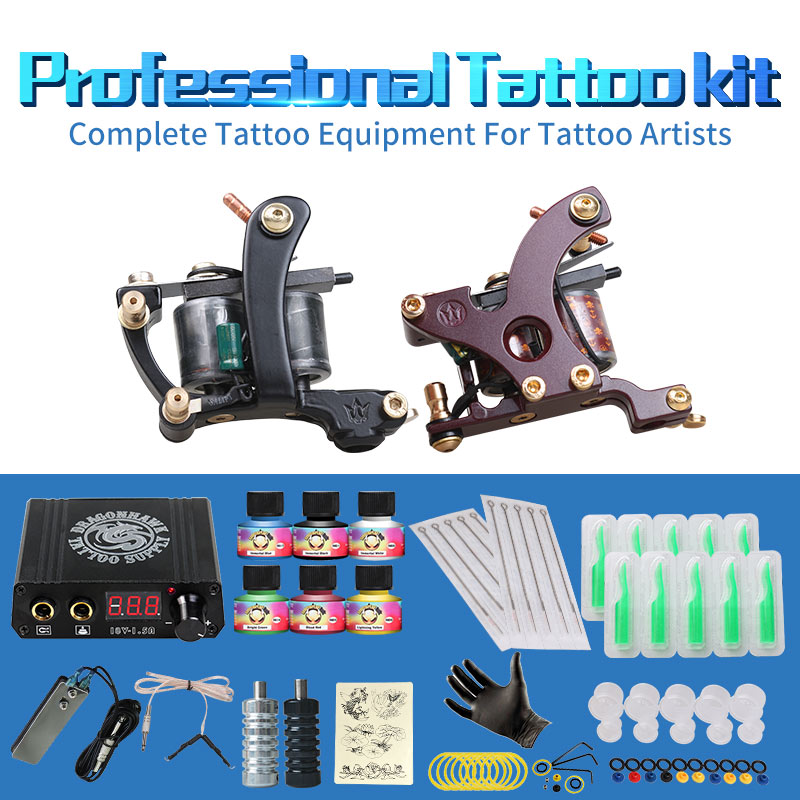 Gratis Billige Tattoo Kit Komplett 2 Tatoveringsmaskiner 6 Farger USA - Tatovering og kroppskunst - Bilde 2