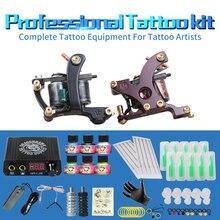 Free Cheap Tattoo Kit Complete 2 Tattoo Machines 6 Colors USA Brand Tattoo Inks Power Supply Kit