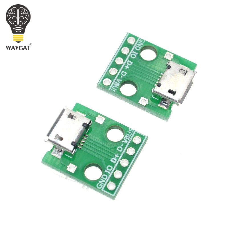 5pcs MICRO USB to DIP Adapter 5pin female connector B type pcb converter pinboard 2.54